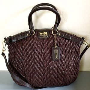 COACH Madison Lindsay in Brown Quilted Nylon